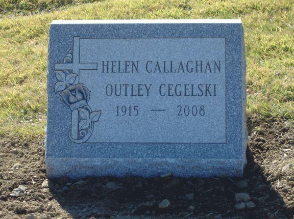 Slant 1 Grave Headstone Cross and Rose