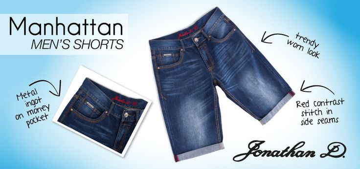 Celebrate spring in style with Jonathan D's Manhattan men's shorts. Made from a hard wearing yet ultra comfortable denim, they feature 5 pockets, rolled up hems with sand blasting detailing and a subtle but stylish crinkle effect.