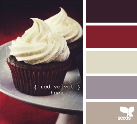 red velvet hues - the shade of red and the silver shade below it is what I want for the kitchen & living room.