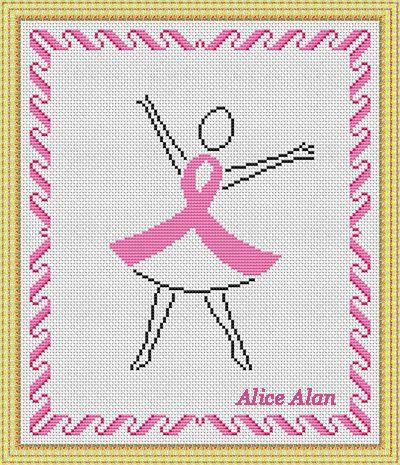 Cross Stitch Pattern Pink ribbon Silhouette от HallStitch на Etsy