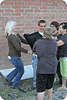 Frozen T-shirt game.  Teams have to get the frozen t-shirt thawed enough to put on one team member.