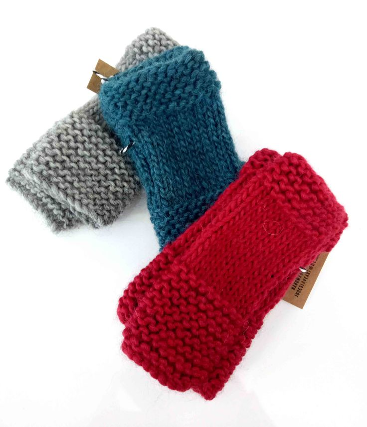 LoveArt - Jude Fellows - Fingerless mittens $29. Available in grey, cream, teal and red