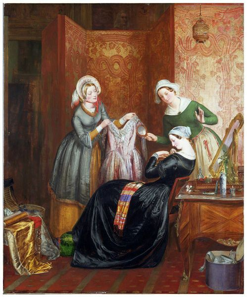 """Throwing off Her Weeds"" by Richard Redgrave in 1846. Held at the V Museum. This image shows a young widow at the seamstresses shop. She is looking to discard her black mourning clothes (called widow's weeds) in favor of a purple half-mourning ground. Symbols in the picture tell us that she is looking to be married again soon."