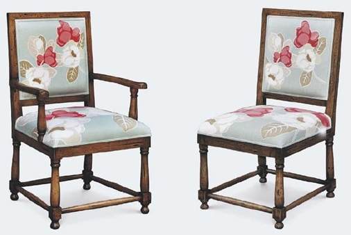Cottage Dining Chairs - Design #3 - Tudor Elite Dining Chair - Hand-crafted from solid premium mahogany. - Shown in Oak stain with Antiquing. - Fabric show with floral artwork. - Arm Chair Item # BR-04452 - Side Chair Item # BR-61252 - 50+ color, fabric & art options.: Color