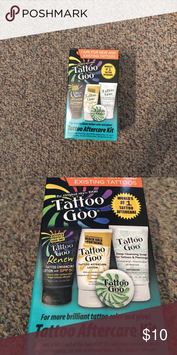 Tattoo aftercare products! Tattoo Goo aftercare kit , includes a salve , enhancing lotion, aftercare lotion and a deep cleansing soap . Very useful for new tattoo care as well as keeping old tattoos vibrant . Brand new only used the  after care cleansing and lotion 3 or 4 times so the bottles are still pretty full. Great product Other