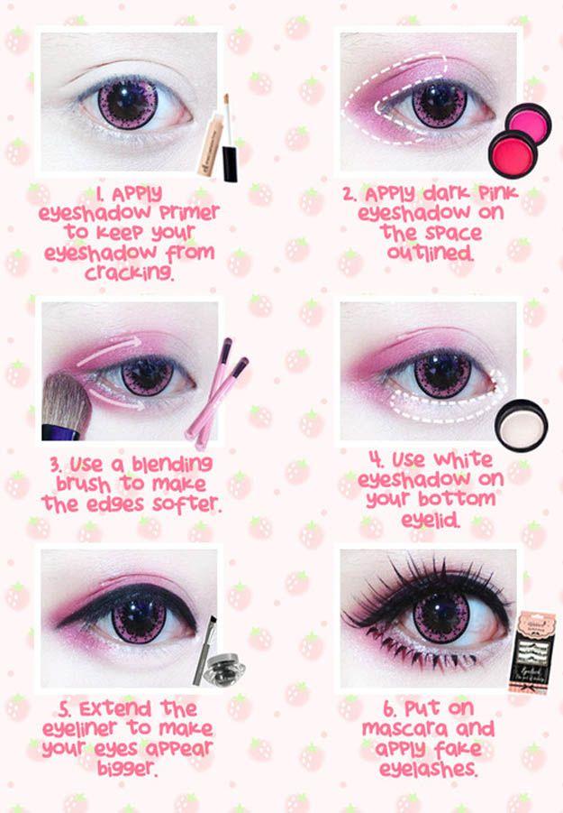 Best Korean Makeup Tutorials - Beuberry Teddy Bear Pink Circle Lenses I Kawaii M...