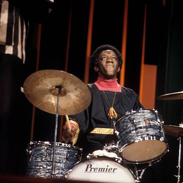 American Jazz Drummer Art Blakey Plays A Premier Drum Kit With His Art Blakey Drums Drum Kits