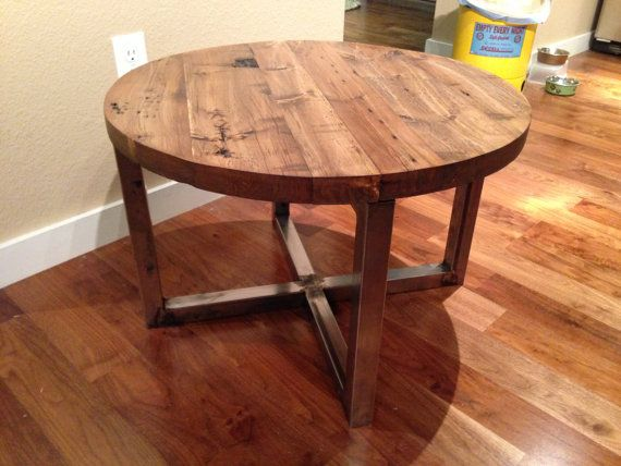 Reclaimed Barn Wood Round Coffee Table With By Rivernorthdesigns 300 00