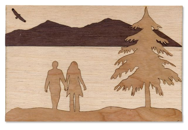 """Laser Cut Wood Inlay by ~dizzyflower28. 4"""" x 6"""" Laser engraved & cut wood inlay. Process: Laser cut 4"""" x 6"""" rectangle, then engraved the scene, laser cut separate pieces of wood, inlayed them into the engraving. Took appox 2 hrs between designing, engraving and assembling. Wood used: Birch, Walnut, Cherry Programs used: Photoshop, Illustrator, CorelDraw"""