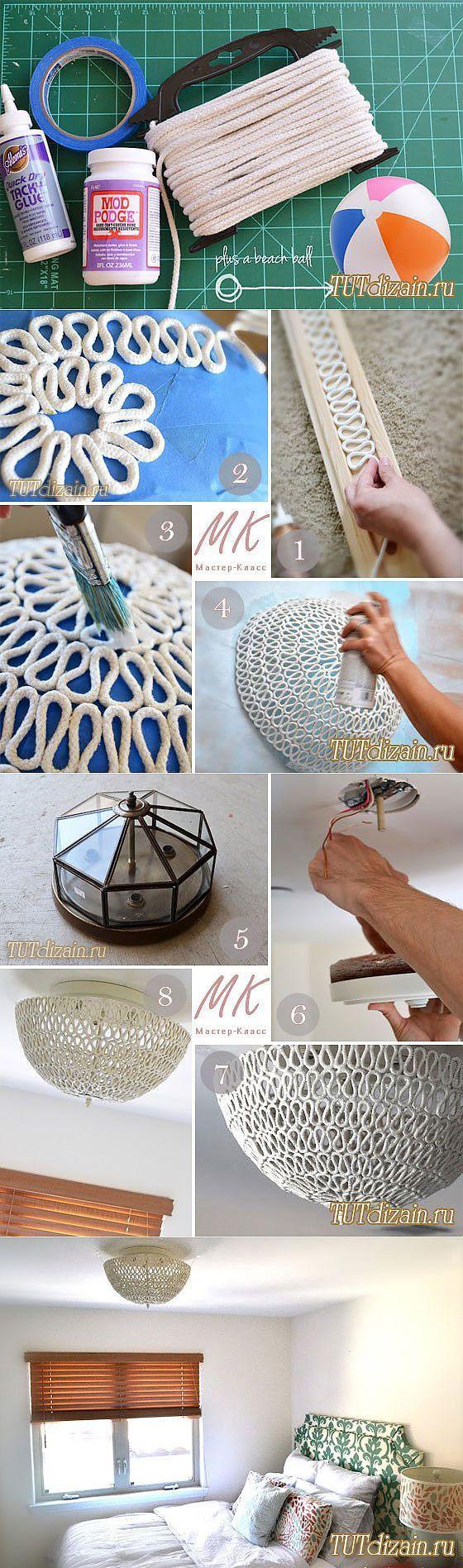 Lámpara de araña hecha de cuerda? Fácil! DIY!