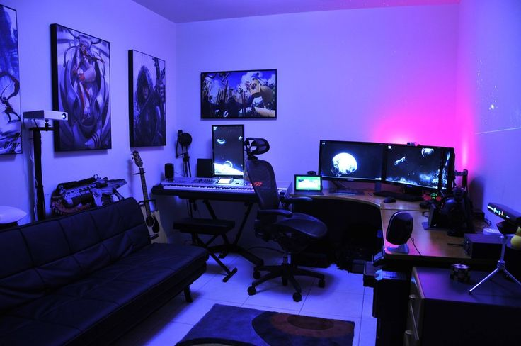 Awesome home music studio / gaming workstation room.  This home studio's got everythang, My oh My! (8)