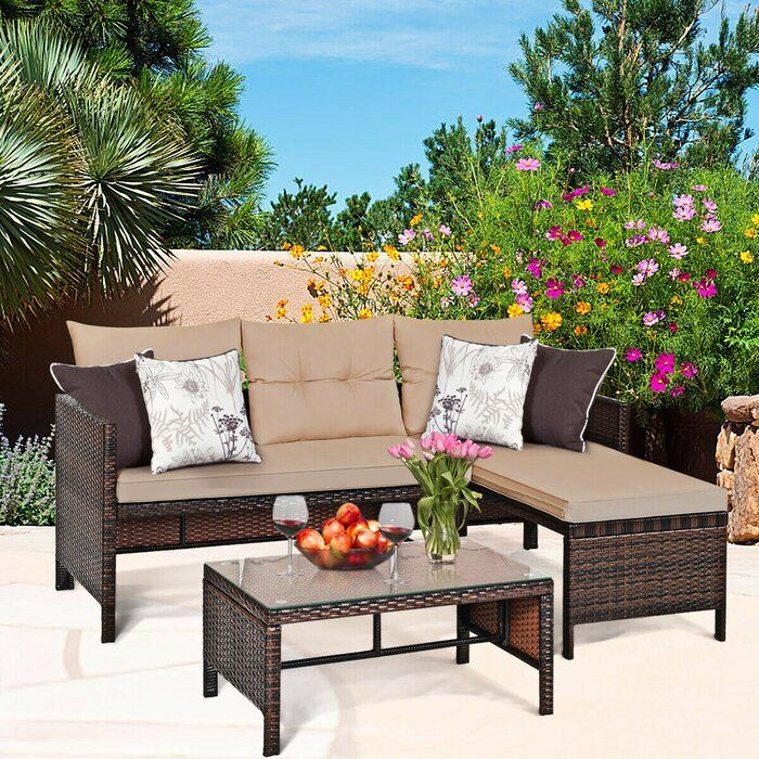 Latitude Run Abdurrehman Patio 3 Piece Sectional Seating Group With Cushions Wayfair In 2020 Resin Patio Furniture Outdoor Sofa Sets Rattan Sofa