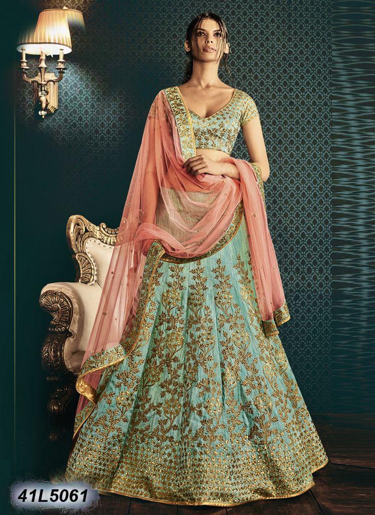 Elegant Sea Green Coloured dhupian Lehenga