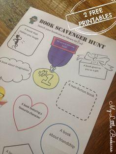 Book scavenger hunt printables