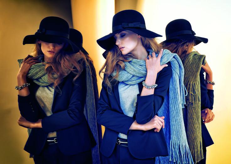 #prettyonewarsaw   Kolekcja Autumn Winter 2014/15 grantowy zestaw marynarka, błękitna bluska, kapelusz oraz błękitny szal