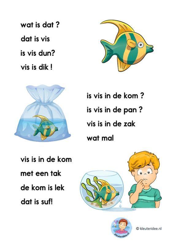 vis, verhaaltje voor kleuters die beginnen te lezen, AVI-start kleuteridee.nl: