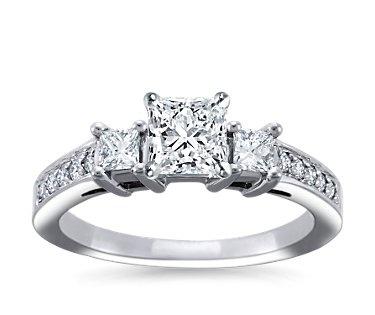 Trio Princess Cut Pavé Diamond Engagement Ring in 14k White Gold (1/3 ct. tw.)Diamond Engagement Rings, Rings Sets, Pavé Diamonds, Engagement Ring Settings, White Gold, Diamonds Engagement Rings, Princesses Cut, Trio Princesses, Princess Cut
