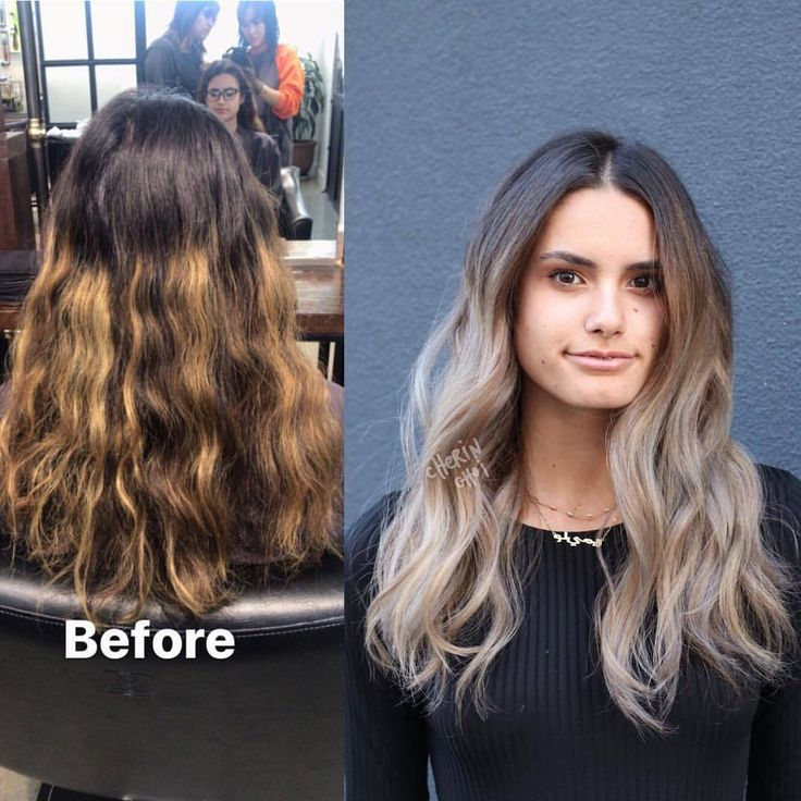 Before and after. Full highlights to correct warm grown out color. Brunette hair transformed to an ashy blonde. This is after one visit. I recommend maintaining with a gloss as needed. Styled by @marisacuts #hair #haircolor #color by #mizzchoi...