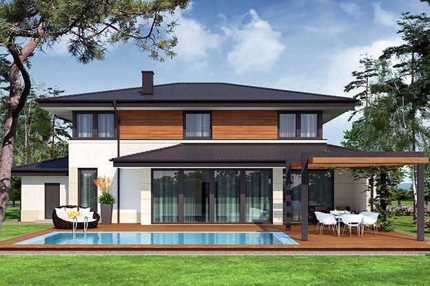 Struktura ove kuće prilagođena je savremenom načinu života petočlanog domaćinstva i vešto naglašena fasadom koja kombinuje elemente drveta, kamena i stakla.