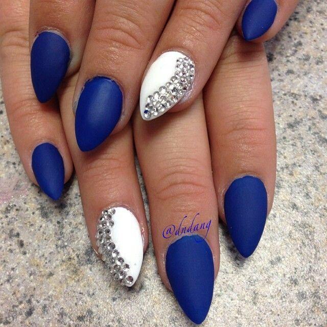 Matte blue and white stiletto nails with rhinestones ...