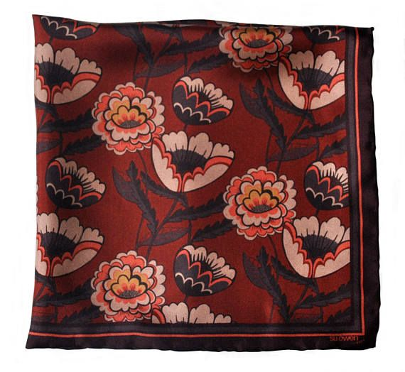 Silk Pocket Square / Floral Silk Pocket Square / Poppies and