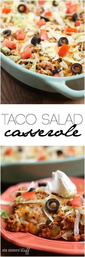 Taco Salad Casserole recipe from Six Sisters' Stuff  This quick and easy taco…
