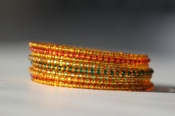 Orange yellow red and green shiny beaded by DeaJewelleryStore
