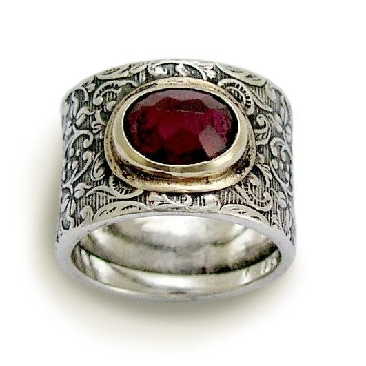 Wide sterling silver filigree gemstone band by artisanlook on Etsy, $208.00