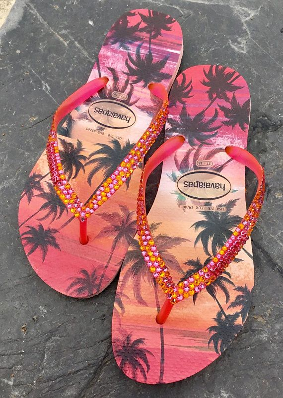 c9efda1a9a21 Pink Sun Sunset Havaianas Slim flat Ladies Flip Flops Hawaiian Tropic Palm  Tree w  Swarovski