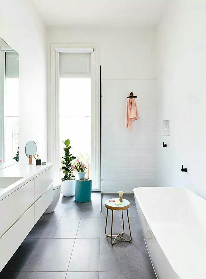 Simple with strong floor and colour accents