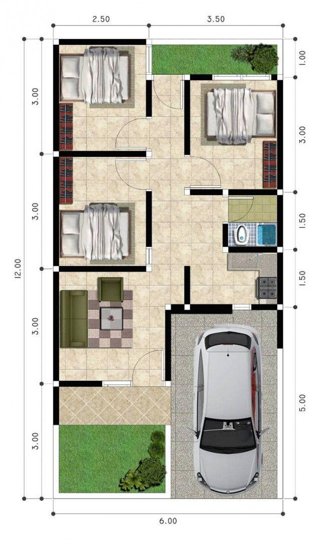 Denah Rumah 7x15 : denah, rumah, Denah, Rumah, Minimalis, Lantai, Kamar, Content