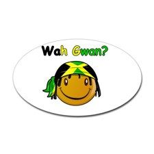 Wah Gwan? Jamaican slang Oval Decal for
