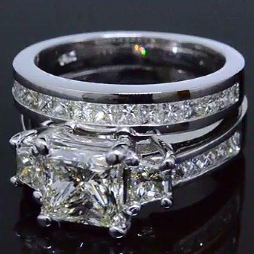 Angara Airline Set Three Stone Princess Blue Diamond Ring(3.8mm) bJBOIstun