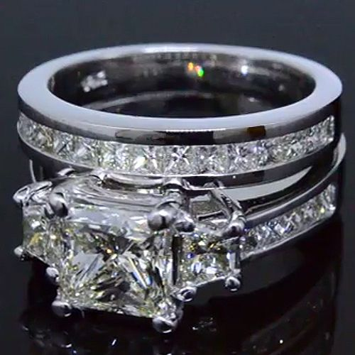 3.89 Ct. Princess Cut 3-Stone Diamond Engagement Ring Set H,VS1 EGL - Recently Sold Engagement Rings