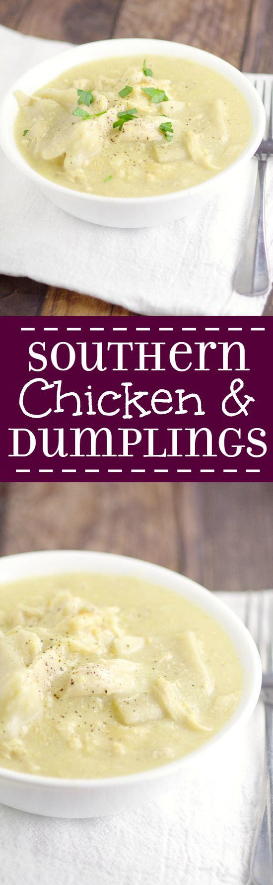 Classic Southern Chicken and Dumplings recipe makes a tasty and filling comfort food dinner idea and recipe for the family, just like grandma's. Can't go wrong with a classic! Seriously the BEST!