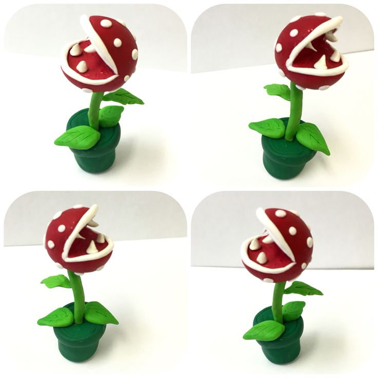 DIY Mario bros Piranha Plant desk ornament hand crafted by yours truly out of Fimo soft and red sparkly Fimo effect polymer clay. #homemade #DIY #deskwarmingpresent #craft #miniatures #nintendo