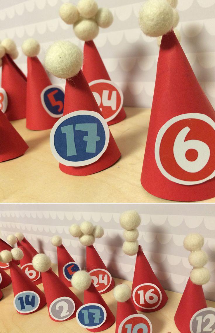 Tonttulakkijoulukalenteri | lasten | lapset | askartelu | joulu | käsityöt | kädentaidot | koti | idea | tonttu | tontut | joulukalenteri | kalenteri | DIY ideas | kids | children | crafts | christmas | elf | calendar | home | Pikku Kakkonen