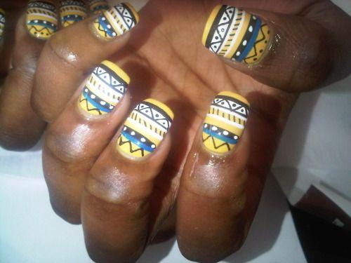 tribal print nails.  so cute!