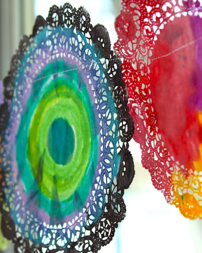 water colour and doilies