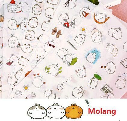 6PCS/lot New Korea Creative Cartoon Potato Rabbit II series Molang Pvc sticker set / Kawaii label /retail
