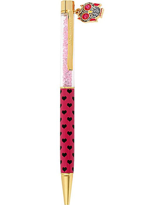 POLKA DOT HEART PEN WITH OWL CHARM PINK accessories misc. gifts no sub class