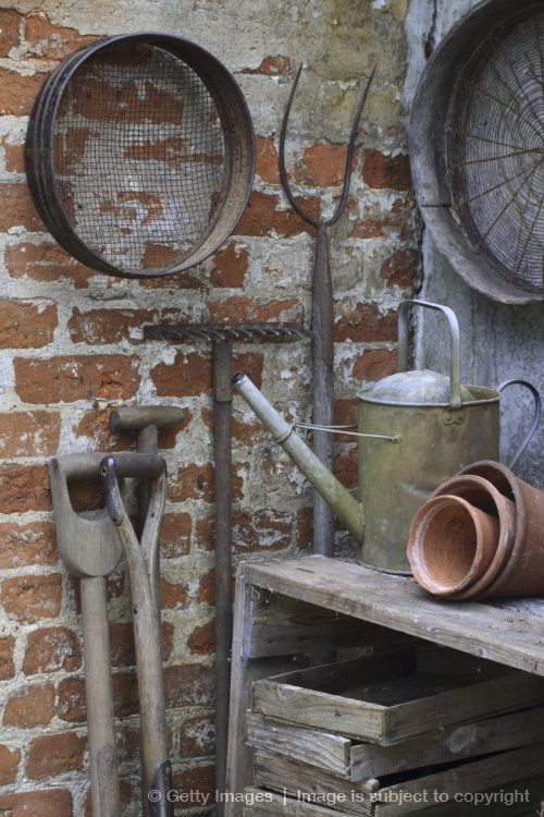 Image detail for -Garden tools and equipment stored in garden shed, close up selective focus, UK