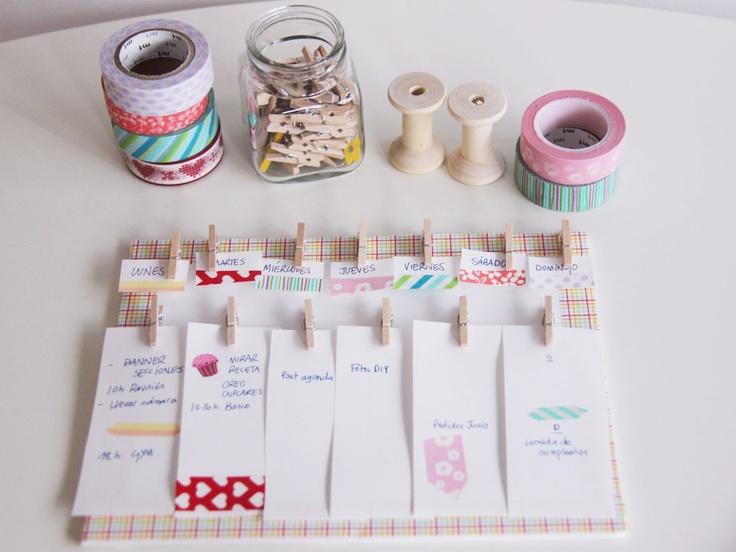 Crea tu propio calendario semanal y decóralo con washi tape