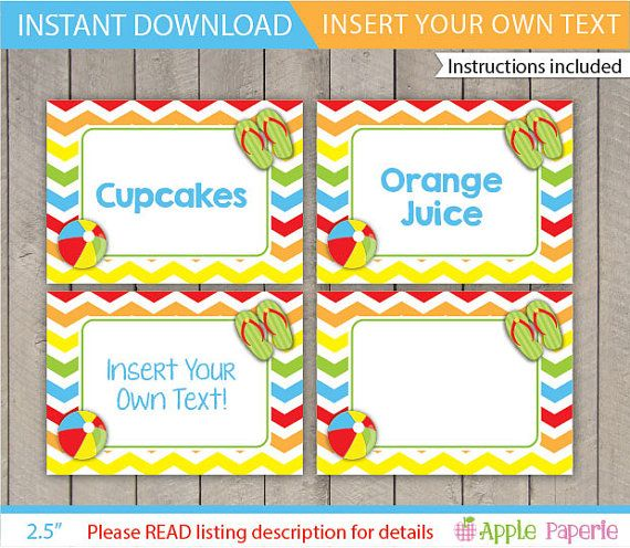 Pool Party Food Labels / Pool Table Tents / Kids by ApplePaperie