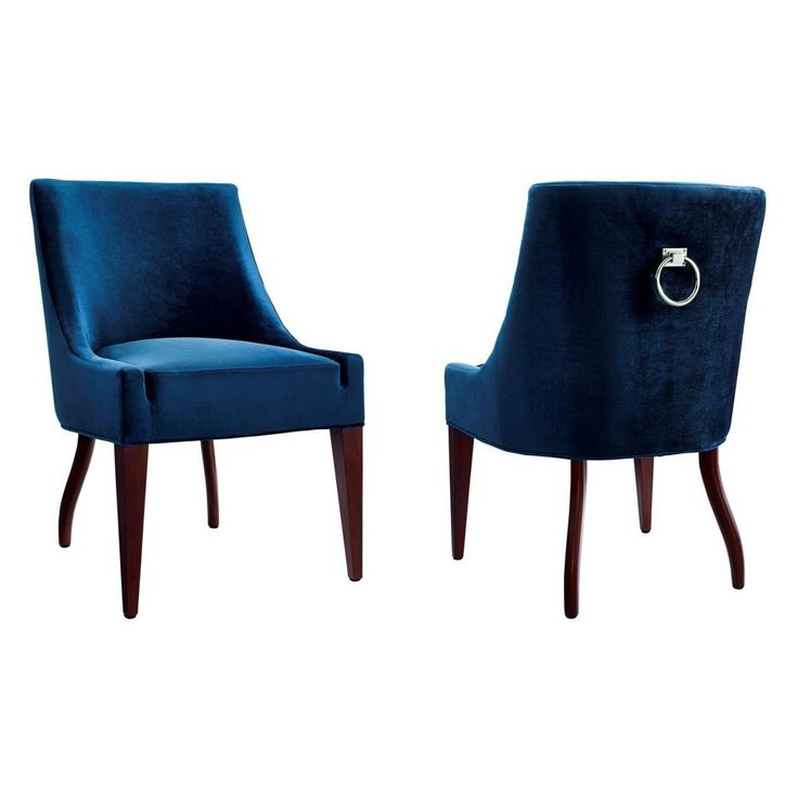 TOV Furniture Dover Blue Velvet Dining Chair W Silver Ring On Back Set Of 2