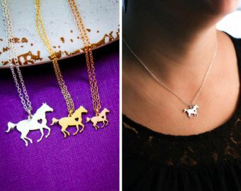 Gravierte Pferd Halskette Silberbarren Halskette von IvyByDesign