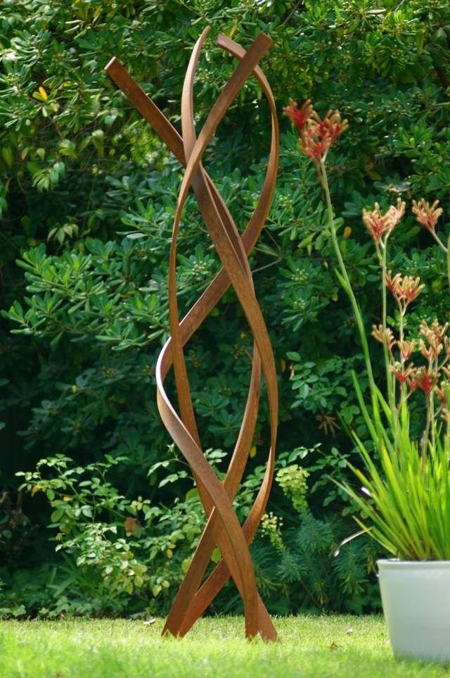 moderne Gartendeko Metall hohe Skulptur Blumen (Diy Garden Art)