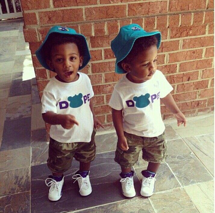 Cute black baby boy twins