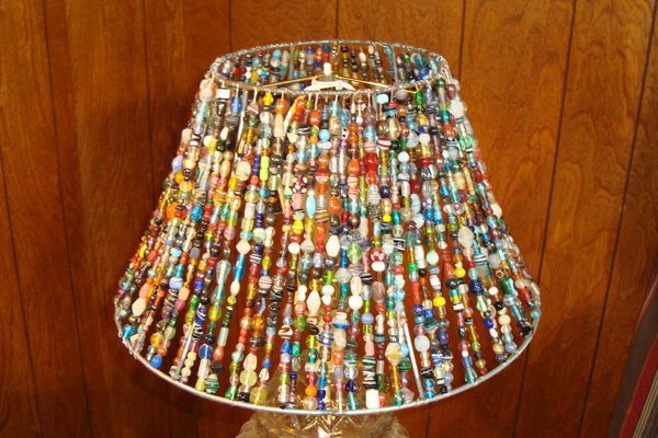 crafts made with lampshade frames | take a dull lamp shade and turn it into wow by adorning it with beads ...