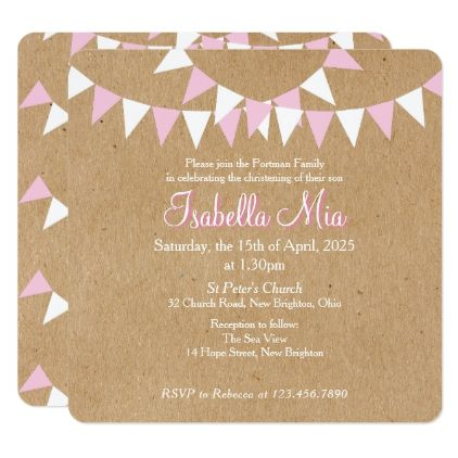 Baby Bunting Pink Baptism Christening Invitation - invitations custom unique diy personalize occasions